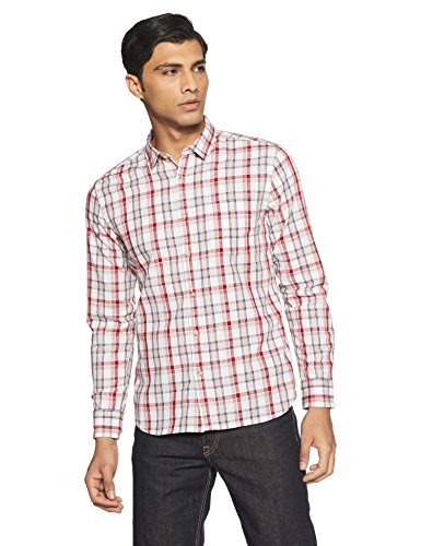 Amazon Brand- Symbol Men's Checkered Regular Fit Casual Shirt (SS18-SMCS-103_Red_Large)