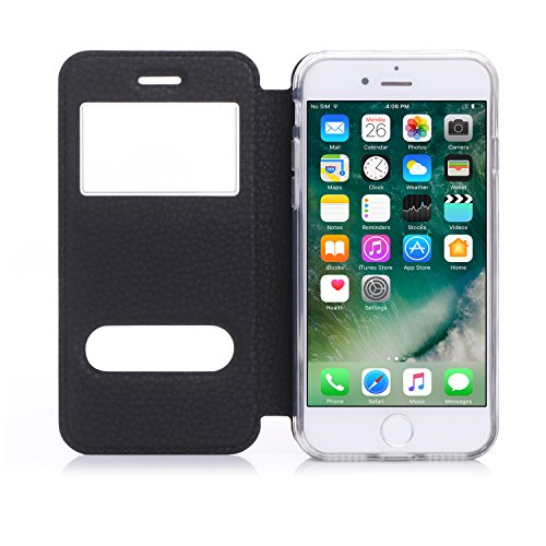 "iPhone 7 (4.7"") Etui Coque, SHANGRUN PU Cuir Housse Coque Fenêtre d'ouverture Case Flip Cas de Protection Portable Skin View Window Etui Cover pour iphone 7 (4.7"") Bleu Noir"