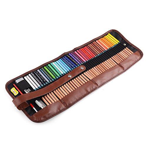 Marco Renoir® Zeichnungsbleistifte + Radiergummi, Set mit Metall-Tasche für Künstler