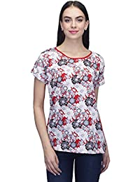 de5e080bf56 Indietoga Plus Size women Red and off White Printed Crepe Casual Top For  Girls