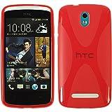 PhoneNatic Case für HTC Desire 500 Hülle Silikon rot X-Style Cover Desire 500 Tasche + 2 Schutzfolien