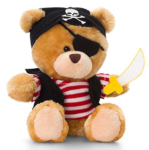 Lashuma Plüschtier Bär, Pipp The Bear mit T-Shirt rot, Teddy als Pirat, Kuscheltier 14 cm