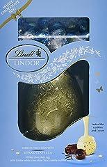 Idea Regalo - Uovo di Pasqua al Cioccolato Lindt Lindor Bianco con Tartufo Stracciatella al Cioccolato Bianco e Cacao, 285 g