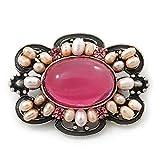 Spilla ovale in argento anticodi ispirazione vintage, con perla di acqua dolce e cristallo di colore rosa,larghezza 48mm