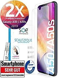 3D Schutzfolien kompatibel mit Samsung Galaxy A50 / A50s 2019 - [Made in Germany - TÜV] - 2 Stück - Hüllenfreundlich - Transparent - kein Glas sondern Panzerfolie TPU