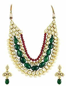 Bridal Red Green Vilandi Kundan Necklace Set Jewellery for Women - Orniza