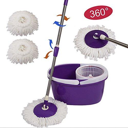 Generic EJ602849 Paño de microfibra de repuesto para cabezal de mopa, rotación de 360 grados, superabsorbente, verde y blanco, para cocinas y baños