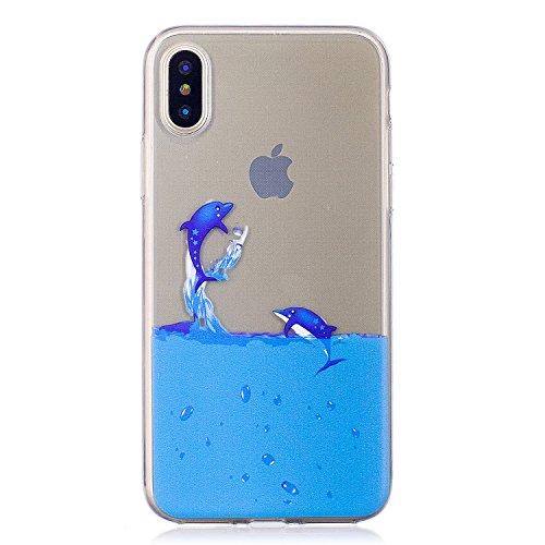 Für iPhone X,Sunrive Schutzhülle Etui Hülle transparent weich ultra slim TPU Silikon Rückschale Silicon Cover Tasche Case Bumper Abdeckung Handyhülle(tpu Katze2)+Gratis Universal Eingabestift tpu Delphin