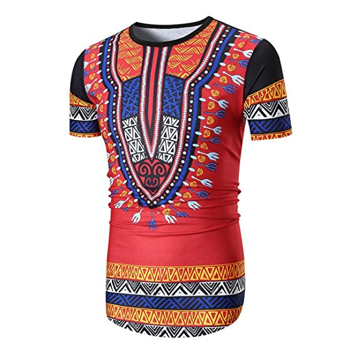 QUINTRA Männer Sommer Casual African Print O Hals Pullover Kurzarm T-Shirt Top Bluse (African T-shirt American Weiß)