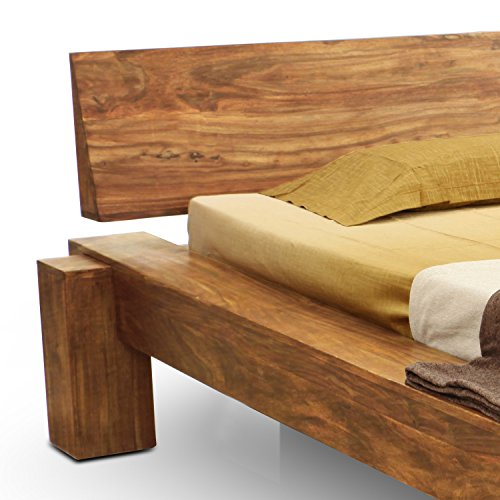 SAM® Massiv-Holzbett, Yoga, Natur, Sheesham-Holz, Balkenbett, Unikat