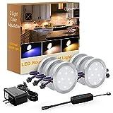 Onforu 6pcs Lampe de placard 12W UV/Blanc Chaud/Froid 1080LM Spot LED sous meuble Réglable 10 Niveaux Luminosité avec Interrupteur 12V pour Cuisine Cabinet Etagère Vitrine Armoire