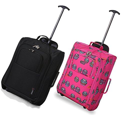 Set von 2 Leichtgewicht Handgepäck Kabinengepäck Flugtasche Koffer Trolley Gepäck Schwarz+Eulen Rosa