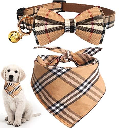 KUDES 2er-Pack Katzen- und Hundehalsband-Set mit Glöckchen, verstellbare Karierte Fliege und Schal, Dreieck-Lätzchen, Kerchief für kleine/mittelgroße/große Hunde, L(14