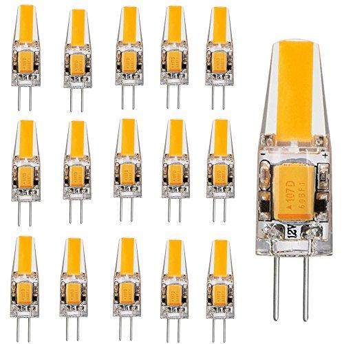15er-Pack G4 LED 2W Lampe Birne High Power COB Chip gleichmäßige Beleuchtung CRI 80Ra super mini Ø 9.6mm 3000K Warmweiß 200LM Ersetzt 20W Halogenlampe AC DC 12V, Nicht Dimmbar -