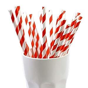 25 Frau Wundervoll Papierstrohhalme / Trinkhalme rote Streifen