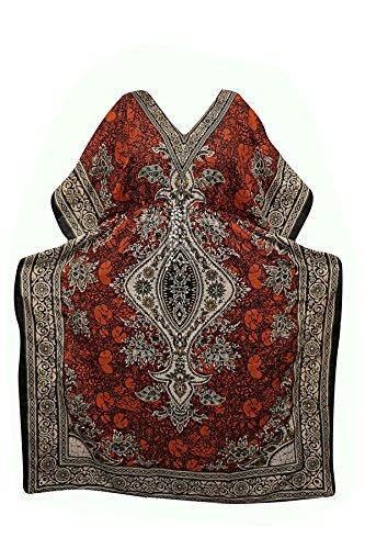 Indiatrendzs Womens Dashiki Orange Viscose Fabric Long Kaftan Dress Dory at Waist Free Size  available at amazon for Rs.375