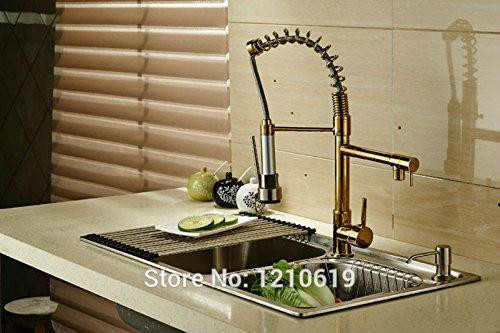 Preisvergleich Produktbild Neue TougMoo Us Gold Platte Küche Frühling Zuckerwatte Deck Mount nach unten ziehen, Einloch Mischbatterie Waschbecken