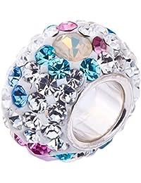 Opal perles, cristaux roses, bleu et blanc, argent sterling charm perle.