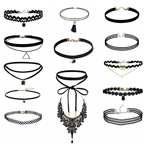14-pcs-choker-necklace-for-women-girls-black-classic-velvet-stretch-gothic-tattoo-lace-by-irona