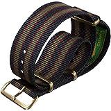 Correa del reloj Vintage Bond nylon NATO Franja azul/rojo/verde oscuro 20mm PVD Bronce Antiguo