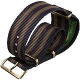 Cinturino orologio Vintage Bond Nylon NATO Striscia di verde/blu/rosso scuro 20mm PVD Bronzo Antico