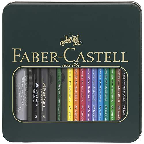 Faber-Castell 117540 - Metalletui mit 10 Albrecht Dürer Aquarellstiften, 2 Pitt Artist Pens + 1 Big Brush