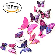 Imanes de Nevera Refrigerador VORCOOL Pegatinas Pared 3D Mariposas Decoracion Pared Púrpura 12 Piezas