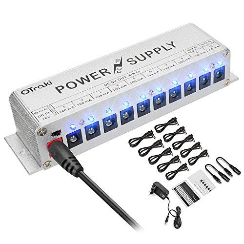 OTraki Effektgerät Netzteil Pedal Power Supply 9V/12V/18V Netzteil DC 10 Isolierte Ausgang Kurzschluss/Überstromschutz Guitar Effect Pedal LED Geräuscharm Gitarreneffekt Universal Power