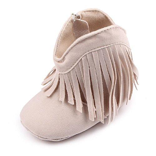 Auxma Für Baby 0-18 Monate,Babyschuhe Stiefel Weiche Sohle Schuhe prewalker (0-6 M, Beige) (Lammfell Stiefel Knit)