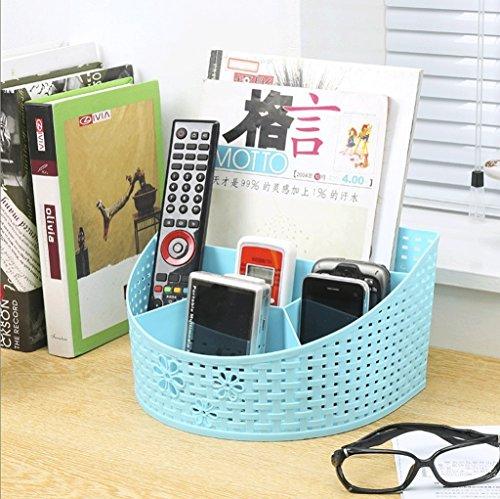 Ordinateur de bureau télécommande finition coffre fournitures de bureau papeterie boîte de rangement boîte de cosmétiques de salle de bains (Couleur : Bleu)
