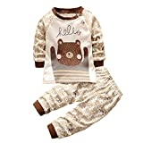Kinderbekleidung,Honestyi Neugeborenen Baby Jungen Mädchen Cartoon Drucken Kapuzenpullover Tops Shirt + Hosen Outfits Set Warm Pullover Sweatshirts (Braun, 24M /90CM)
