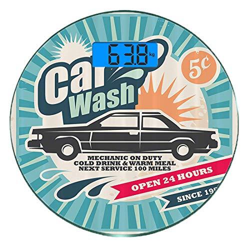 Digitale Präzisionswaage für das Körpergewicht Runde 1950er Jahre Set Ultra dünne ausgeglichenes Glas-Badezimmerwaage-genaue Gewichts-Maße,Retro-Autowaschanlage Auto-Service-Reparatur-Plakat-Art-Kunst -