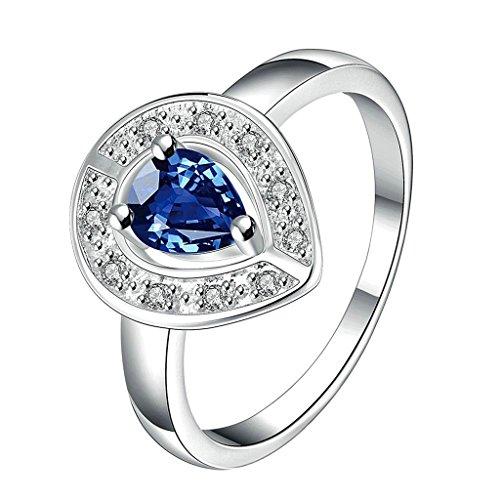 Aeici Schmuck Ringe Blau Silber Damen Tropfenform Blau CZ Größe 57 (18.1)