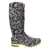 SUPGOD P353 Black & White Floral Funky Womens Ladies Girls Wellies Wellie Boots Rain Snow Sizes 3, 4, 5, 6, 6.5 & 7 Bestival, Reading & V Festival *UK SELLER*