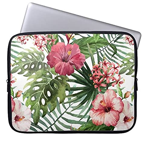 Christmas Gift for Men Funny Laptop Sleeve Cover 13 13.3-13.8 Inch Tropical Flowers Watercolor Modern Fine Floral Computer Cases Protective Bag for Macbook Air 13
