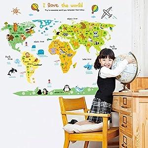 Missley Inglés Letras Mapa del Mundo Decalques de Pared PVC Pegatinas Waterproof Wall Stickers para paisajismo Estudio murales decoración