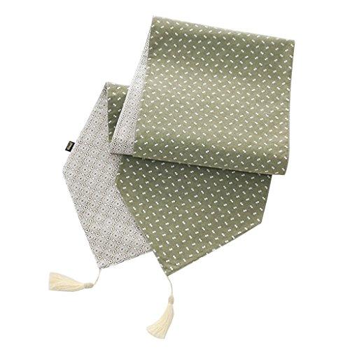 Chemin De Table Housse De Table En Coton Et Lin Serviette De Table Nappes Longues Meuble Télé Drapeau De Table (Couleur : Style3-green, taille : 34cm*150cm)