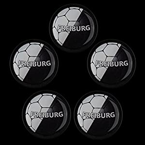 Magnete Set M0188 5er Fußball Freiburg Schwarz stark haftend und groß - für Kinder, Kinderzimmer, Büro, Haushalt, Whiteboard, Kühlschrank