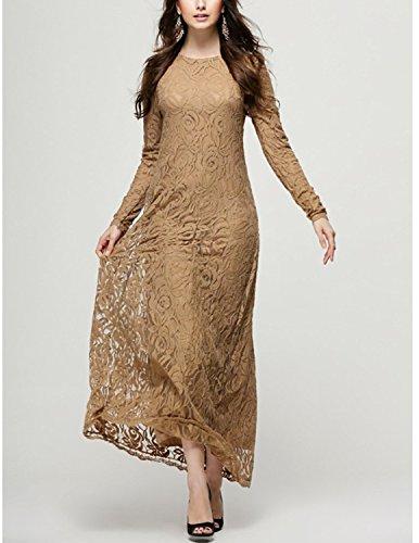 Sitengle Damen Muslim Kleider mit Rundausschnitt Langärmeliges Spitzenkleid Maxikleid Casualkleid Partykleid Braun