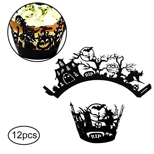 Naisicatar 12 Stück Kuchen-Verpackungs-Papier Halloween-Muster-Kuchen-Turm Umwelt Muffin-Kasten Dekoration Zubehör für Halloween-Party (Bat) Fröhliches Halloween