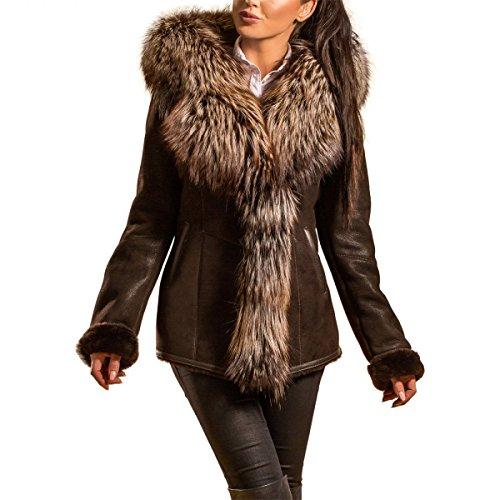 Lammfelljacke - LAYLA Damen Merino Felljacke Lederjacke Winterjacke mit Kapuze Echtleder Size S, Color Braun