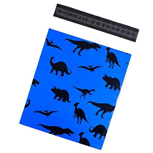 100Bedruckte Poly Versandtaschen 10x 13Dinosaurier blauen Zungensteckverschluss Kunststoff Versandtaschen