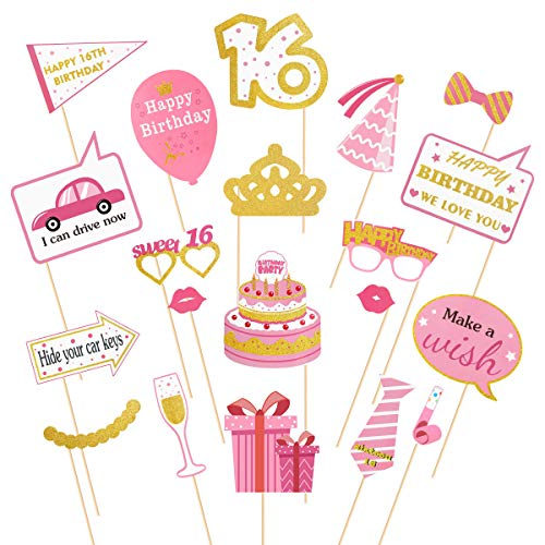 urtstag Photo Booth Requisiten 20pcs Sweet Girl Photo Booth Requisiten Nettes Mädchen 16 Geburtstag Party Supplies Party Dekorationen ()