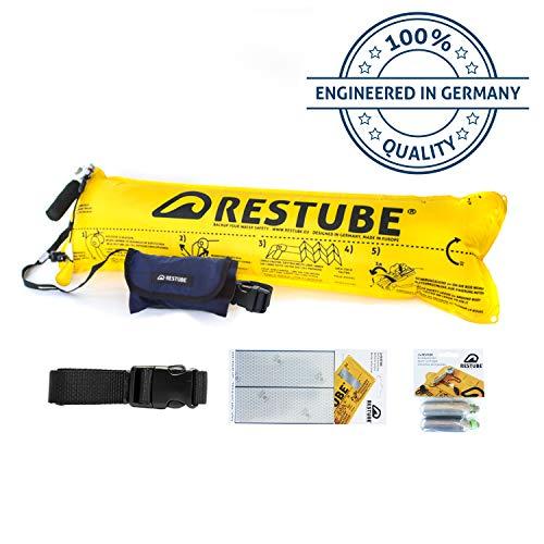 Restube Basic Starter Bundle - aufblasbare Schwimmboje/Rettungsboje für Schwimmen & Stand Up Paddle SUP inklusive Zubehör Ersatzpatronen