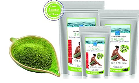 Inch-loss Body Mud Seaweed Wrap 1000 g ● Seaweed Powder for Face, Body and Bath ● Fango d'Alga Cellulite Mud ● Inch-Loss Body Wrap Contour Treatment ● 3 Algae Facial Mask (oily skin, anti acne, psoriasis and eczema)● Helpful in treating Dermatiitis and Eczema. ● Detox, Slimming and Anticellulite Body Wrap ● Fanghi d'Algae Tummy Waist Mud in powder ● Fucus, Lessonia and Lithothamnium fine and nice smelling powder, harvested in Brittany-France ● SPA and In-Home treatment by bleumarine Bretania
