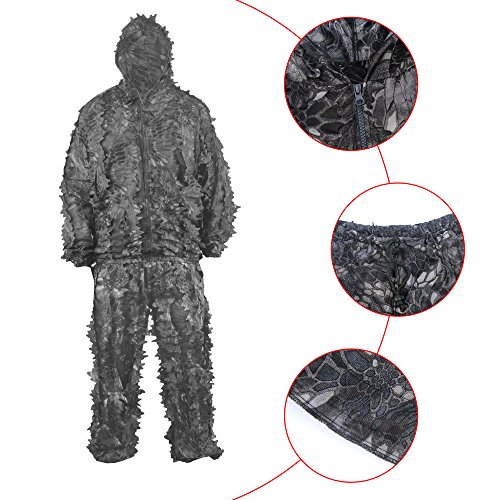 HYFAN Ghillie Anzüge 3D Blätter Wald Camouflage Kleidung Outdoor Army Military Camo Klei