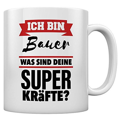 Geschenktasse für Bauer mit Superkräften Kaffeetasse Tee Tasse Becher 11 Oz. Weiß