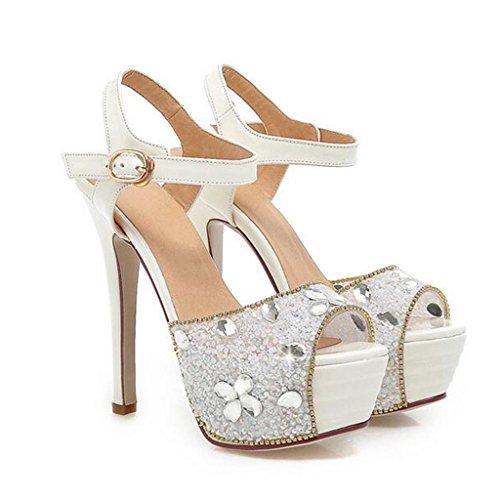 W&LM Signorina Tacchi alti sandali Scarpe da sposa Scarpe da sposa Piattaforma impermeabile fibbia Scarpe di bocca di pesce Le amiche della sposa Strass Ok sandali White
