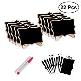 22pcs Mini Lace Shape Chalkboards with Support Message Board Signs Table Place Card