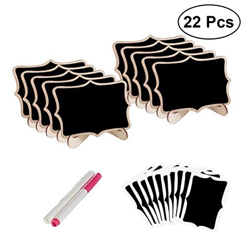 Healifty Mini Tafel Vintage Holztafel mit Ständer Stifte Platzkarten Hochzeit Dekoration 22 Stück (Schwarz)
